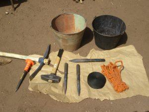 Equipment used to dig a well in Mali, West Africa