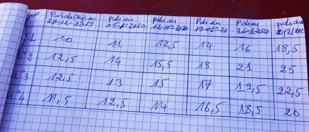 a notebook marking the weekly weight of the pigs