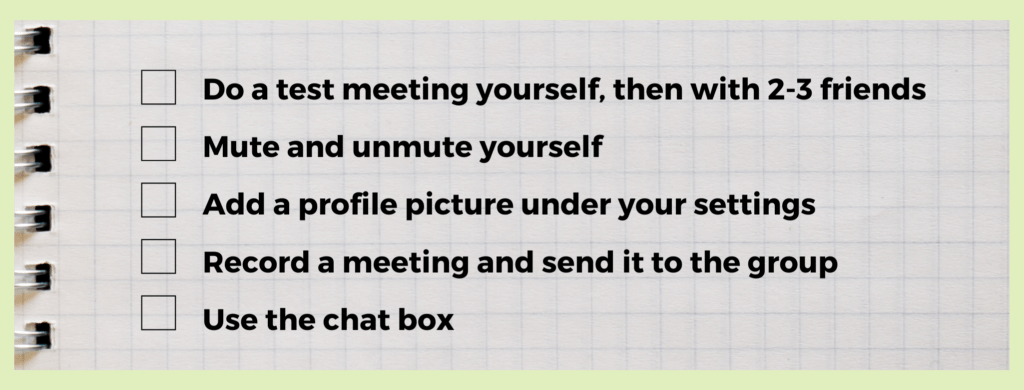checklist including inviting friends, muting, profile pictures, recording, and using the chat box